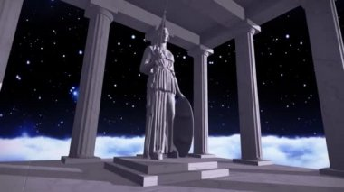 Ancient greek temple in space with a sculpture — Stock Video