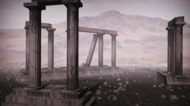 Animation of moving around the remains of an ancient greek temple — Stock Video