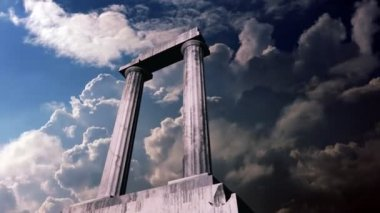 Animation of a piece of the remains of an ancient greek temple — Stock Video