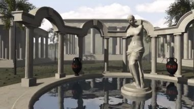 Ancient greek temple with Venus of Milo — Stock Video