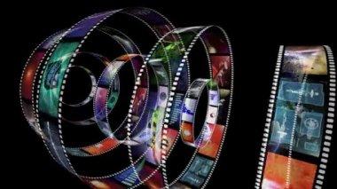 Animação de rotação de rolos de filme — Vídeo Stock