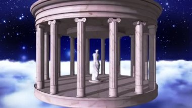 Ancient greek temple in space — Stock Video