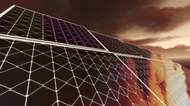 Animation of solar panels with red sky — Stock Video