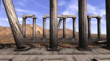Abandoned Greek pillars — Stock Video
