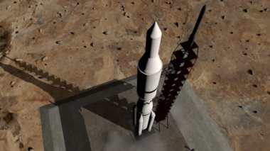 Animation of rocket launch wide shot — Stock Video