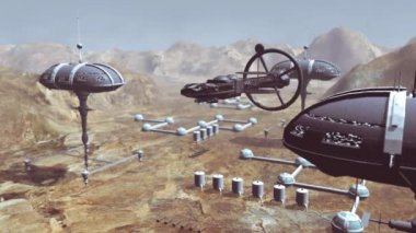 Spaceship take off from Mars colony — Stock Video
