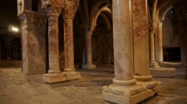 Interior of an old priory. Prieure de Serrabonne, France — Stock Video