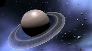 Saturn and comets alligned in space — Stock Video