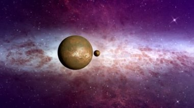 Space travel along planets in the solar system — Stock Video