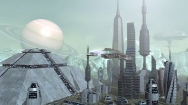 Animation of futuristic spaceships above pyramid city — Stock Video