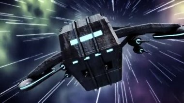 Animation of futuristic spaceship in warp speed — Stok video