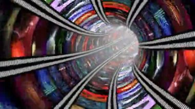Animated wormhole with video wall loop — Stock Video