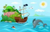 Pirats ship — Stock Vector