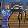Close up of a graphitti sprayed train - Foto Stock
