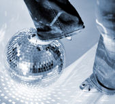 Glitterball and shoe — Stock Photo