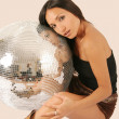 Woman and discoball - Stock Photo