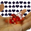 Hand holding dice — Stock Photo