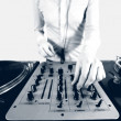 Black and white halftone image of a funky female dj — Stock Photo #12791412