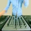 Long exposure of funky female dj — Stock Photo