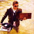 Dj in sea - Stock Photo