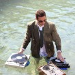 Dj in sea — Stock Photo