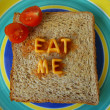 Stock Photo: Eat me words on toast