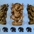 Ganesh statues and elephant pattern — Stock Photo
