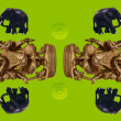 Stock Photo: Ganesh statues and elephant pattern