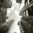 Fisheye of swiss re and lloyds buildings - Stock Photo