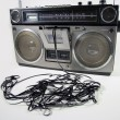 Tape spewing boombox — Stockfoto