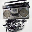Tape spewing boombox - Foto de Stock  