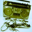 Tape spewing boombox - Stock fotografie