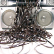 Tape spewing boombox - Stockfoto