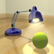 Lamp and tennis ball — 图库照片