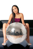 Woman and discoball — Stock Photo