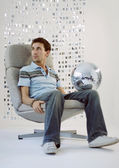 Man with glitterball — Stock Photo