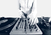 Black and white halftone image of a funky female dj — Stock Photo