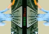 Pattern of funky female dj — Stock Photo