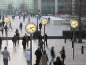 Docklands clocks — Stockfoto