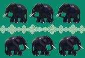 černé figurky slony — Stock fotografie