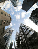 Fisheye of swiss re and lloyds buildings — Stock Photo