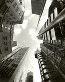 Fisheye of swiss re and lloyds buildings — Foto Stock