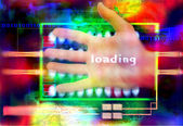 Abstract composition of human hand and technological elements — Stock Photo