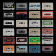 Collection of different cassette tapes — Stock Photo