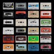 Collection of different cassette tapes - Stock Photo