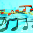 3d jumping musical notes - Stock Photo
