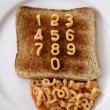 Number spaghetti on toast — Stock Photo