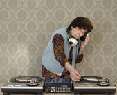 Granny dj — Stock Photo