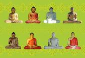 Pattern created from buddha statues — Stock Photo