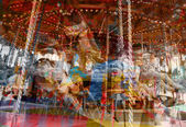 French old carousel with horses — Stock Photo